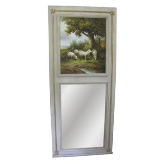 French Sheep Pasture Scene Trumeau Mirror