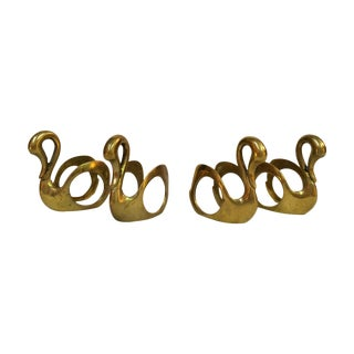 Brass Swan Napkin Rings - Set of 4