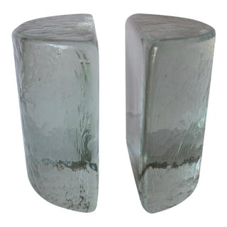 Mid-Century Glass Crescent Bookends - A Pair