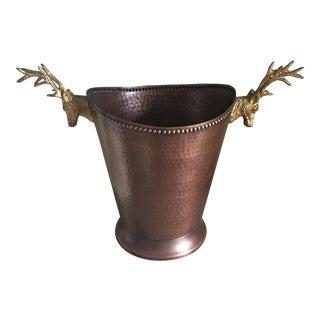 Vintage Alpine Copper Brass Stag Ice Bucket