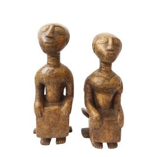 Ashanti Tribe Ghana Seated Couple on Stools