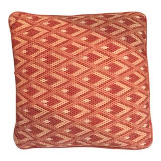Vintage Retro Orange Flamestitch Geometric Bargello Needlepoint Pillow