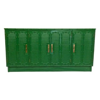 Emerald Lacquered Faux Bamboo Credenza