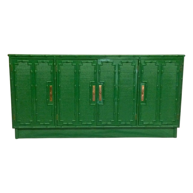 Image of Emerald Lacquered Faux Bamboo Credenza