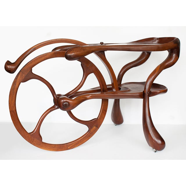 Vintage Studio Sculptural Carved Walnut Bar Cart - Image 4 of 10