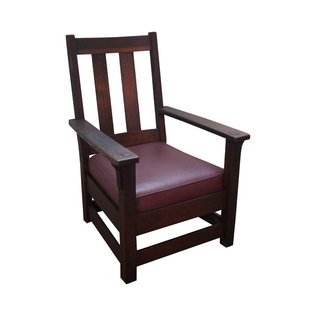 limbert antique mission oak lounge arm chair chairish