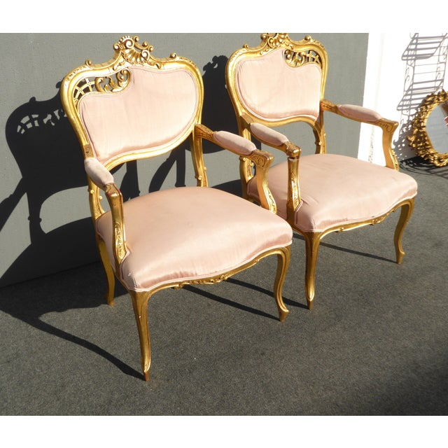Vintage French Rococo/Louis XV Style Giltwood Accent Chairs- A Pair - Image 4 of 11