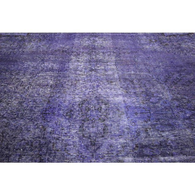"Purple Overdyed Oriental Rug - 10' 1"" x 12' 1"" - Image 8 of 10"