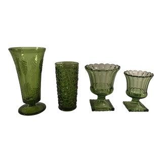 Mid-Century Avocado Green Vases - Set of 4