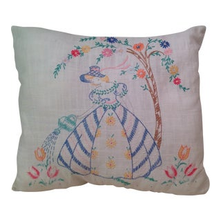 Mid-Century Modern Hand Embroidered Pillow