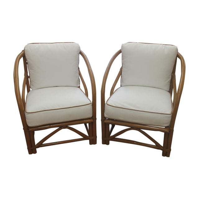 Image of Vintage White Bamboo Chairs - A Pair