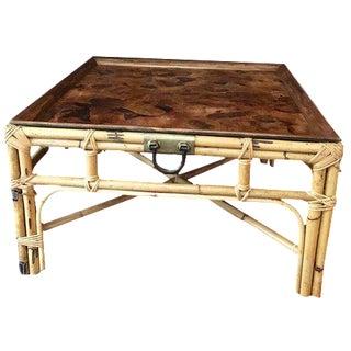 Vintage Italian Rattan & Burl Wood Coffee Table