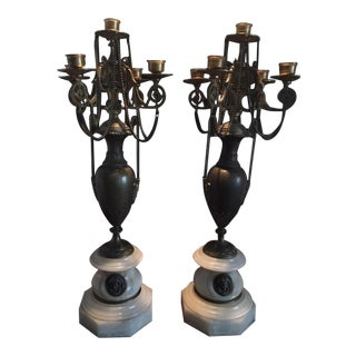 Antique French Bronze & Onyx Candelabras - A Pair