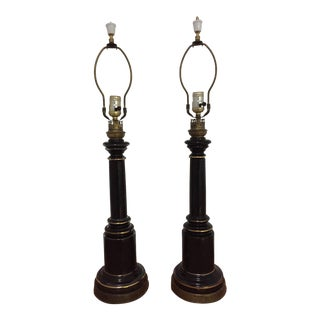 Hollywood Regency Black and Gold Lamps - a Pair