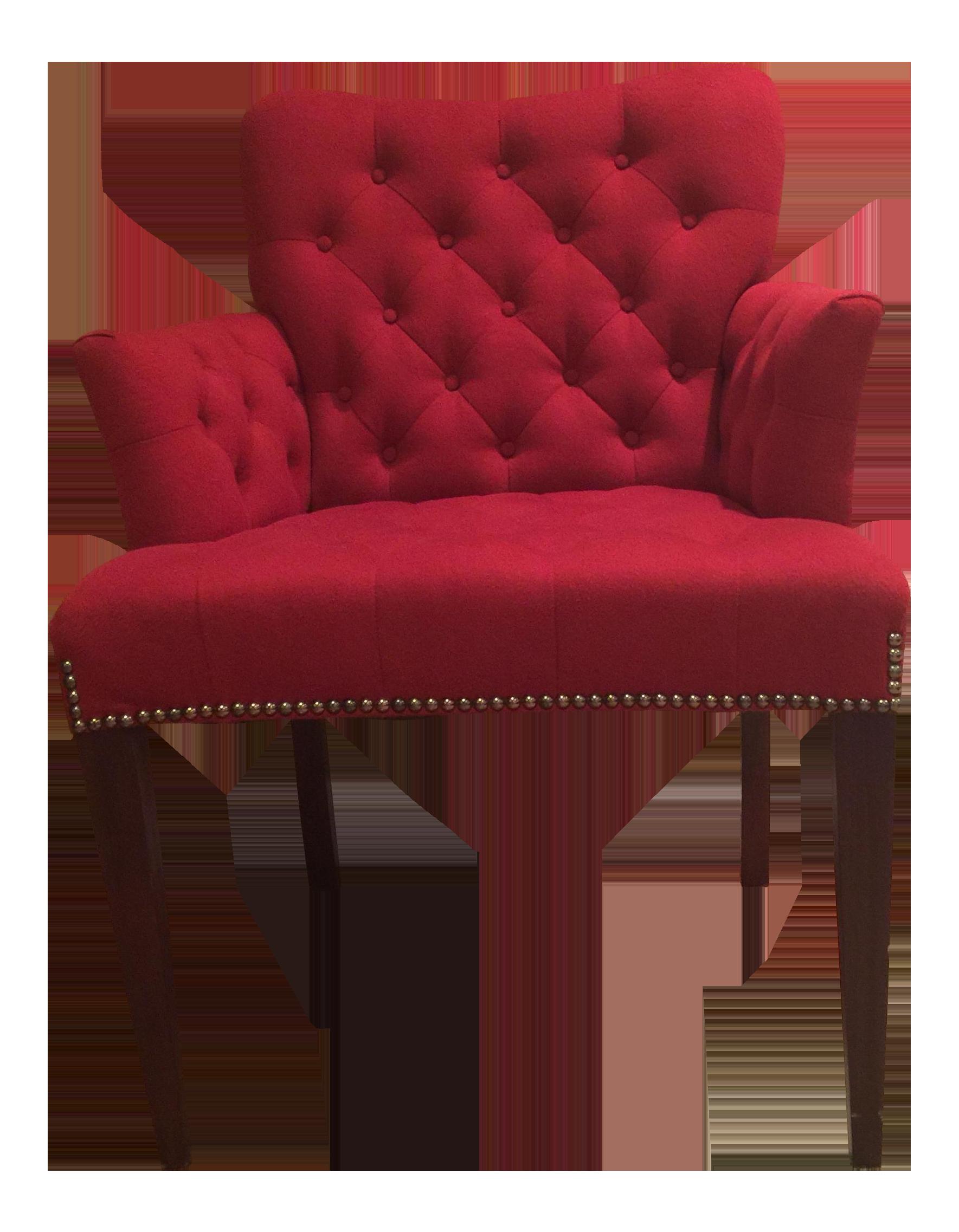 Red Felt Vanity Chair