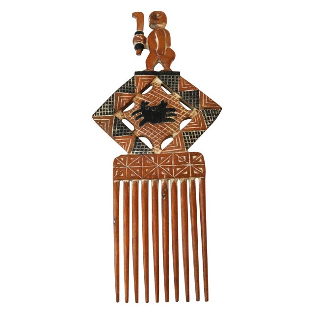 Large Hand Carved African Wedding Comb - Image 1 of 6