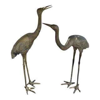 Vintage Oversize Cranes in Bronze