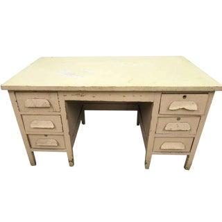 Vintage Six Drawer Oak Wood Desk