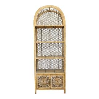 Vintage Bamboo & Rattan Etagere Bookshelf