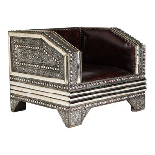 Silver Metal and Leather Royal Chair