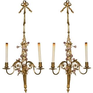 French Belle Epoque-Style Brass Sconces - a Pair