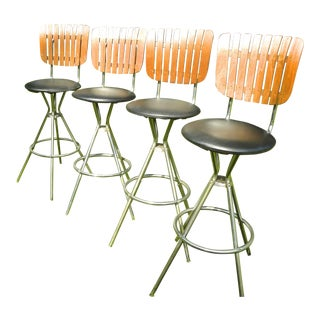 Set of 4 Vintage Mid Century Bar Chrome & Wood Bar Stools