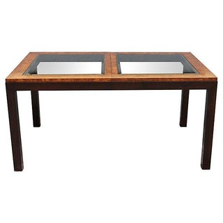 1970s Vintage Mid Century Modern Burl & Black Lacquer Dining Table