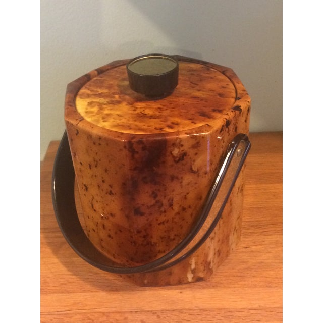 Vintage 80s Glam Gold Faux-Burl Ice Bucket - Image 2 of 4