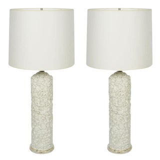 French White Plaster Pebble Table Lamps - a Pair