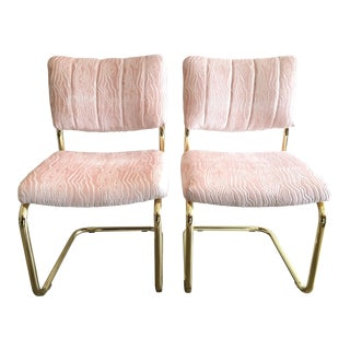 Mid-Century Brass Cantilever Chairs - A Pair