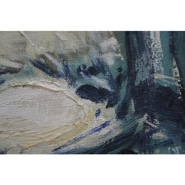 Image of 1960s Vintage Abstract Oil on Canvas Painting