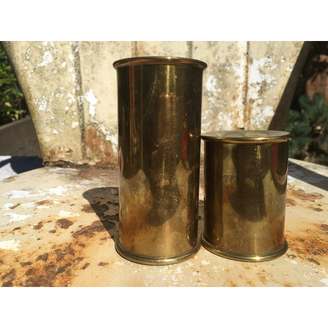 Vintage Cylindrical Brass Candle Holders - A Pair - Image 4 of 6