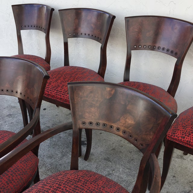 Italian Red Upholstered Wood Dining Chairs- Set of 6 - Image 3 of 10