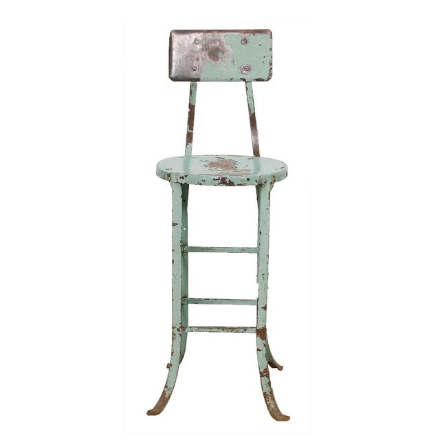 Vintage Industrial Rustic Green Bar Stool - Image 2 of 7