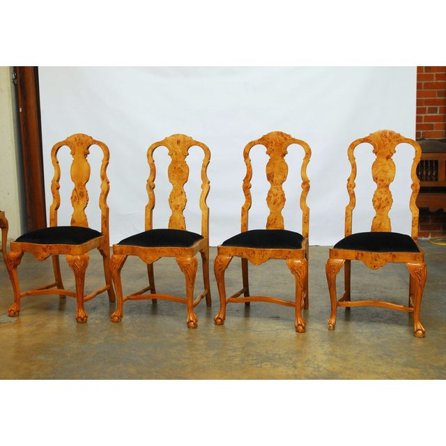 Burl Wood Queen Anne Dining Chairs - Set of 8 - Image 4 of 10