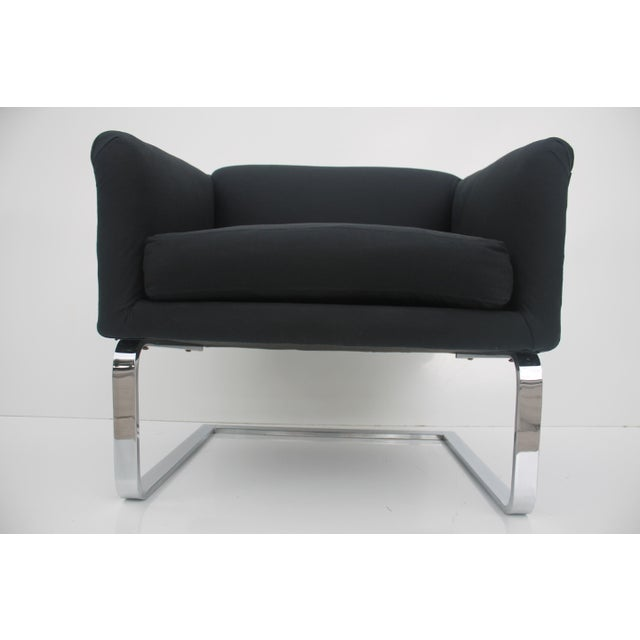 Image of Italian Vintage Flat Bar Chrome Accent Chair