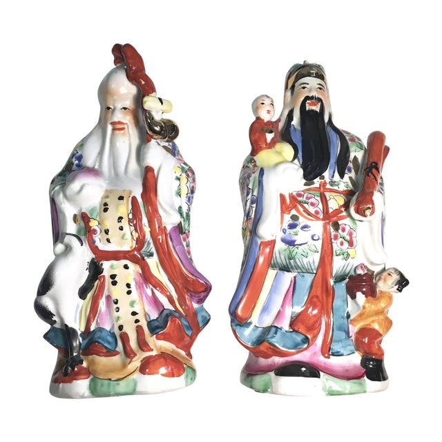 Image of Vintage Chinoiserie Asian Men Figures - Pair