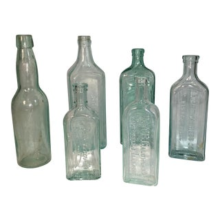 Antique Apothecary Aqua Glass Bottles - Set of 6