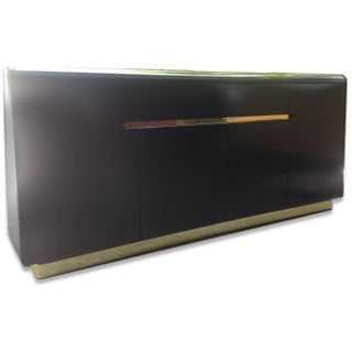 Lane Black Lacquer and Brass Detail Credenza