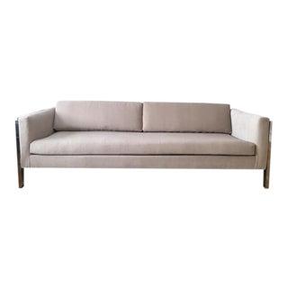 Oatmeal Velvet Upholstered Sofa