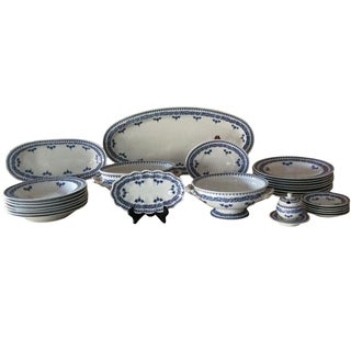 Vintage Shabby Chic Blue & White China - 27 Pieces