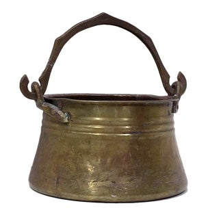 19th Century Brass Cauldron Pot with Handle