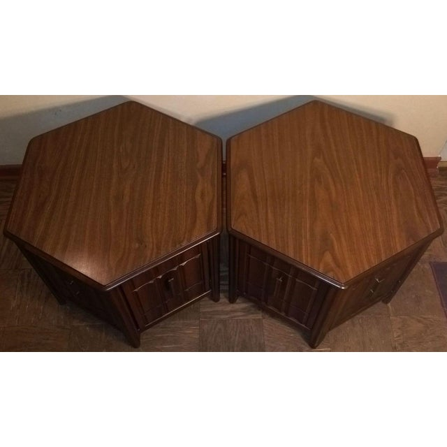 Image of Mid-Century Mersman Brutalist Style Side Tables - A Pair