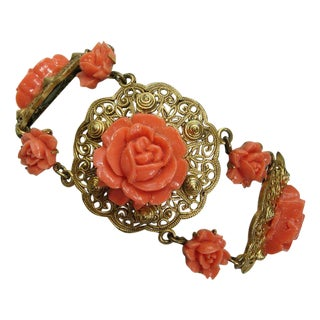 20s Czech Victorian Style Wide Bracelet Faux Coral
