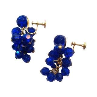 1950s Blue Lucite Cluster Clip Earrings