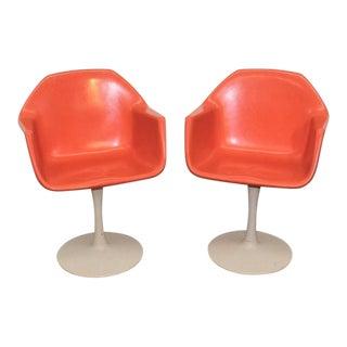 Mid Century Modern Orange Fiberglass Tulip Base Chairs - a Pair