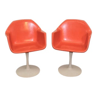 Mid Century Modern Orange Fiberglass Tulip Base Chairs - a Pair