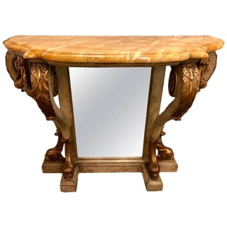 Neoclassical Style Marble-Top Bowed Table Mirrored Back Gilded Dolphin Accents