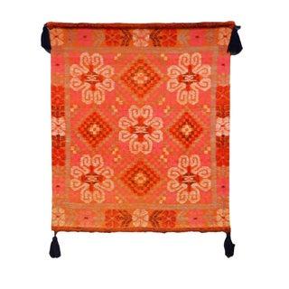 Vintage Bright Orange Hued Woven Tapestry