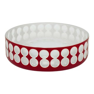 Hungarian Hand-Cut Red and White Cased Glass Bowl